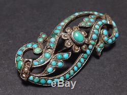 Très belle ancienne broche en argent massif Russe perles et turquoises