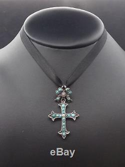 Très belle ancienne croix argent massif cabochons de turquoise et perles