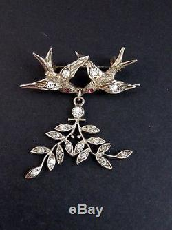 Très belle broche ancienne en argent massif et strass oiseaux 1900