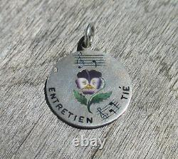 Très rare pendentif français ancien XIX émail pensée message rébus argent massif