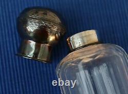 V44 Nécessaire Toilette Cristal Taillé Argent Massif Flacon Boite Poudre Ancien