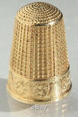 VERMEIL or s/ ARGENT Ancien dé à coudre écrin coffret boîte Antique thimble XIXè